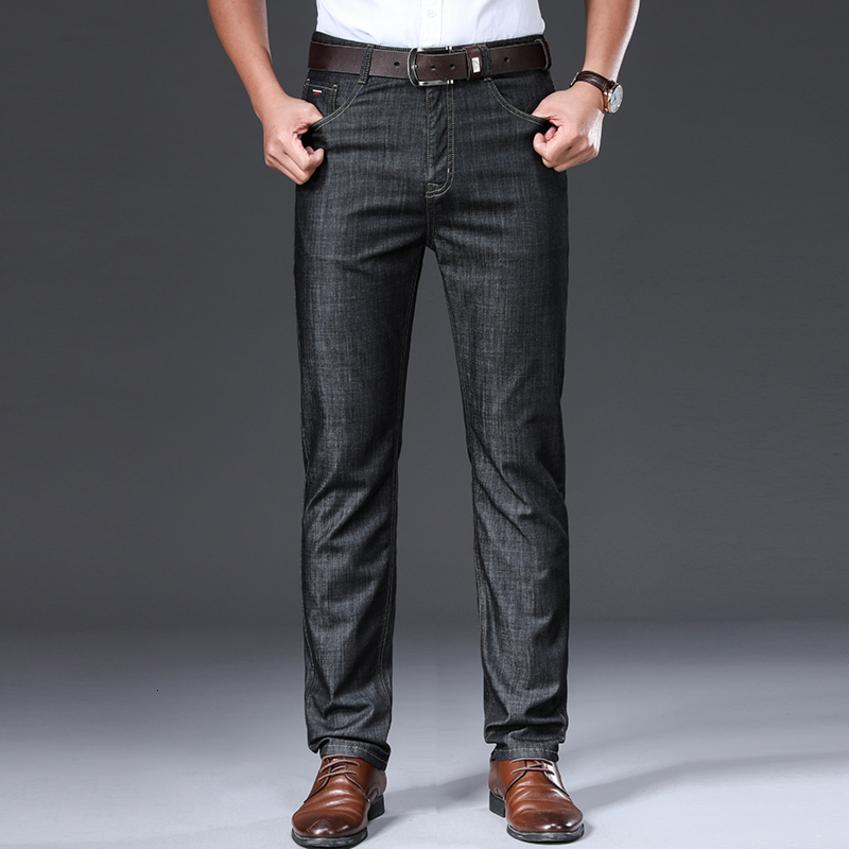 Browon Marka 2020 Erkekler Yaz İnce Nefes Yumuşak Orta Düz Düzenli Erkek Kot Pantolon Vintage Erkek Giyim