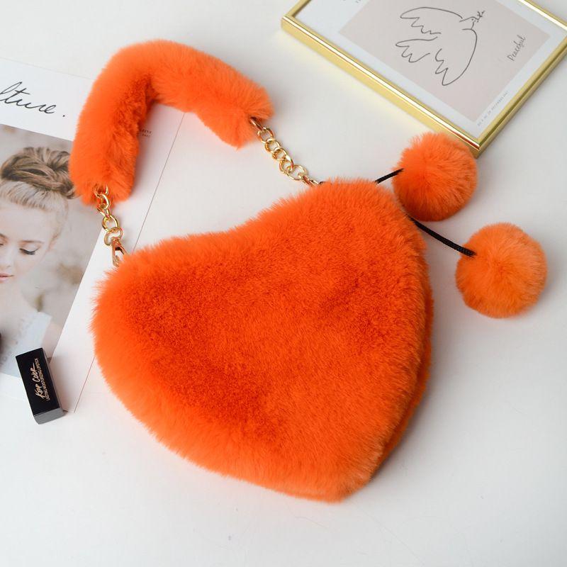 New Women Winter Faux Fur Handbag Lady Heart Shape Hand Bag Female Fashion Phone Purse Teenage Girl Gift Kawaii Party Tote Bags T200914