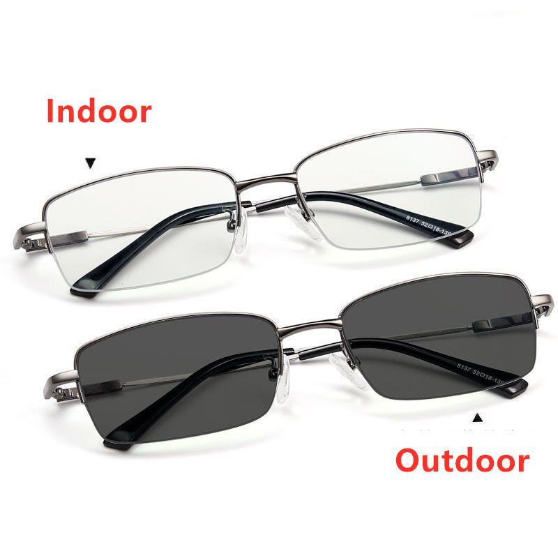 الإطار التقدمي متعددة البؤر نظارات القراءة اللونية في الهواء الطلق النساء الرجال زجاج معدني طويل النظر النظارات المضادة الضوء الأزرق