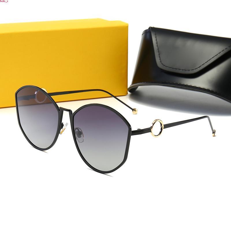 FENDI FF0335 Occhiali da sole rotondi Brille da sole di modo delle donne degli uomini di vetro di Sun Eyeware Doppio ponte di metallo rotonda Des Lunettes de Soleil con il caso