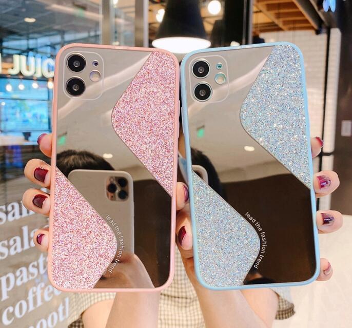 Di lusso della cassa del telefono geometrica Paillettes trucco dello specchio per Iphone 11 Copertura Pro Max 7 8plus Xr Xs Max glitter Tpu antiurto posteriore