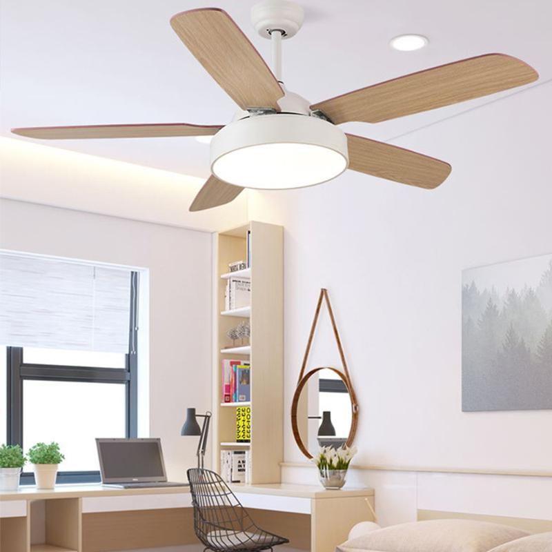 Потолочные вентиляторы из светлого дерева Потолочного вентилятора листа с Remote Control Вентиляторы светодиодного энергосберегающего светом изменения цвета