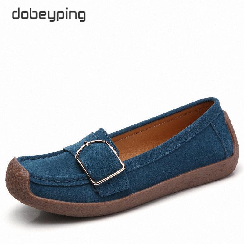 dobeyping Frühlings-Herbst-Schuh-Frauen-echte Leder-Frauen-Ebene-Beleg auf Frauen-Loafers Female Mokassin Schuh Buckle Schuhe 1uaP #