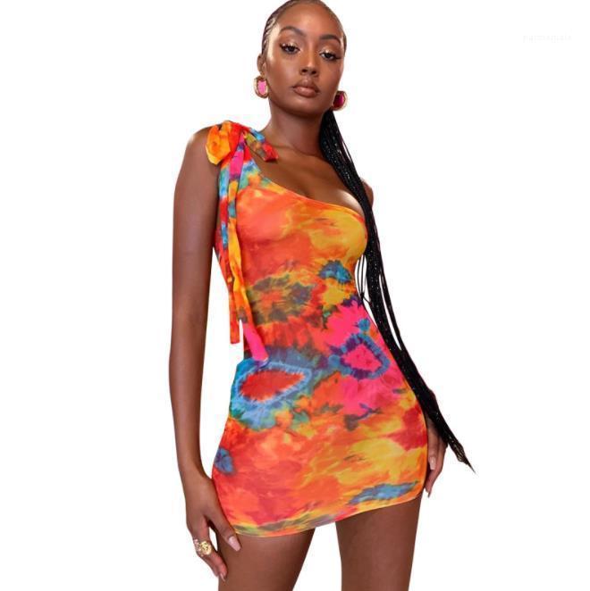 Ein-Schulter Sleeveless dünne Kleider der neuen Ankunfts-Frauen Kleidung 20ss Frauen Designer-Kleider Mode gebatiktem