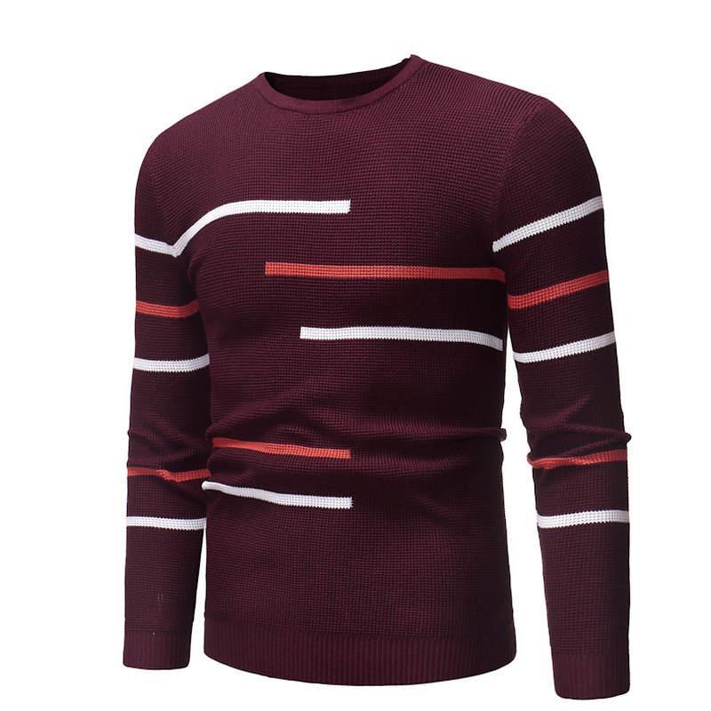 ZOGAA Herren Pullover Männer Strickwaren-Strickjacke warmes Patchwork Round Kragen Baumwolle Striped Kleidung Mann-beiläufige Wolle gestrickte Pullover