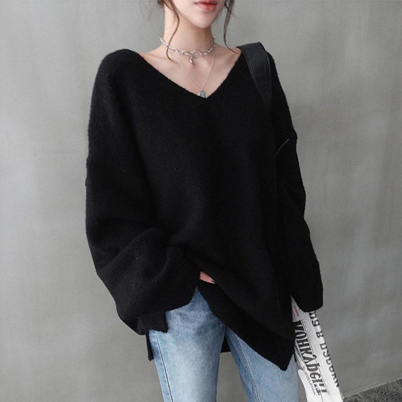 Basando la camisa otoño e invierno suéter más el tamaño de la ropa floja 2020 hermana de grasa estilo occidental de la mujer era delgada, todo-fósforo SWEA punto exterior