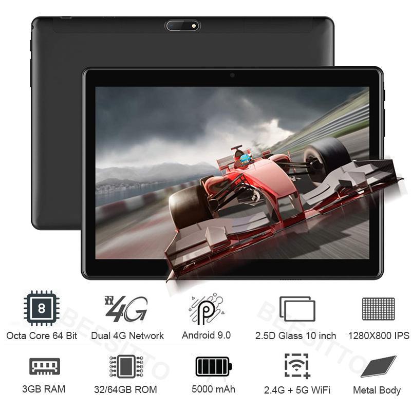 10 pulgadas Tablet PC Octa Core 3 GB de RAM 64 GB de ROM 1280 * 800 IPS doble sim 4G 5G WiFi Tablets Android Tablets 9.0 10 10.1