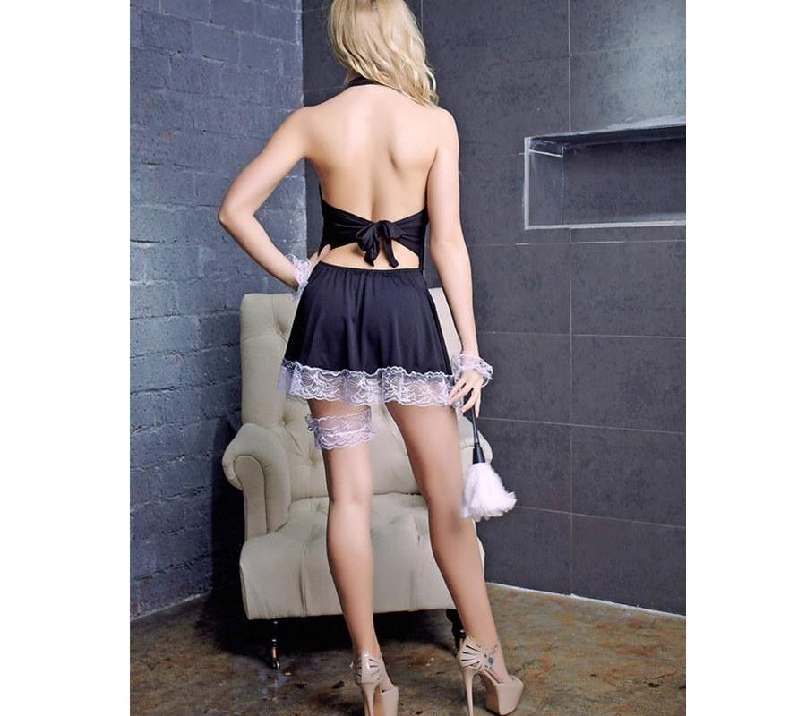 erotic00 traje nuevo exótico uniforme cosplay vestido de la ropa interior atractiva del traje de Halloween fijaron a las mujeres del cordón atractivo de la criada francesa atractiva