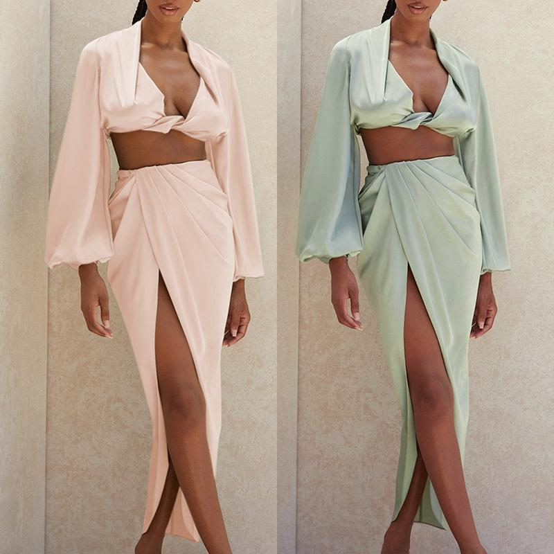 Deep V Neck Long Sleeve Crop Top and High Slit Skirt 2 Pieces Set Women Fashion Party Club Outfits Sexy Sets