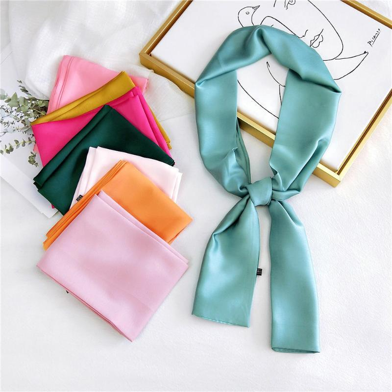 Long Skinny Kerchief Silk Satin Neck Scarf For Women Solid Colors Headband Hair Scarf Female Head Scarves For Ladies Pink Green