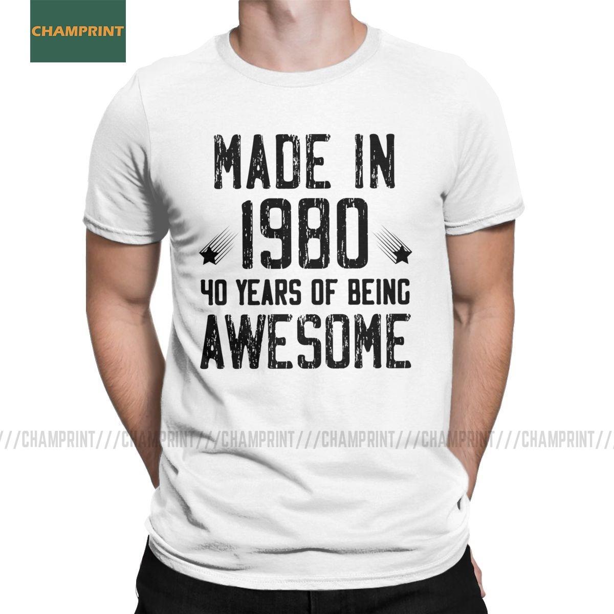 Hergestellt 1980 40 Jahre Sein ehrfürchtiges Geschenk für 2020 Geburtstags-T-Shirt Jahrestag kühlen Tees Kurzarm T-Shirt aus Baumwolle