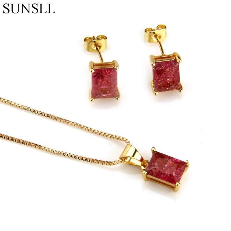Pendientes de circonio cúbico SUNSLL color de oro de cobre multicolor grieta y de la joyería de moda los collares pendientes de las mujeres