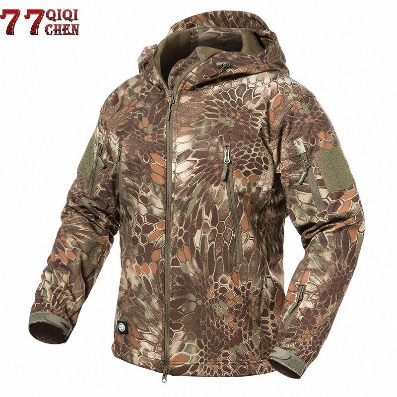 Capa de la chaqueta Soft Shell chaqueta de los hombres táctico impermeable a prueba de viento de invierno polar Ejército de camuflaje táctico Vuelo chaquetas de hockey Cbj Onlin sTJg #