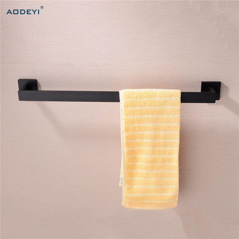 Montagem na parede AODEYI Matte Black Titular toalha de banho toalha único Bar 304 aço inoxidável rack Banho Acessórios T200916