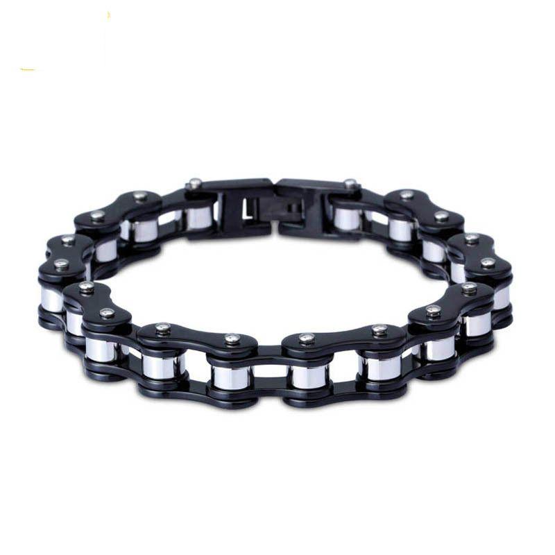 Bracelet Stainless Steel Jewelry Street Punk Series Black and White Bicycle Chain Titanium Steel Temperament Wrist Strap Fashion