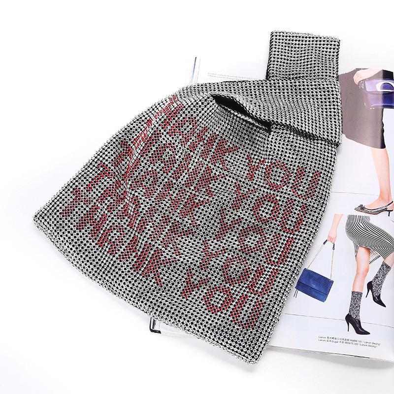 Роскошные Две стороны Rhinestone Totes сумка для женщин Письмо Алюминиевая сетка Кристалл Bling вечер сумка для телефона Кошелек Кошелек