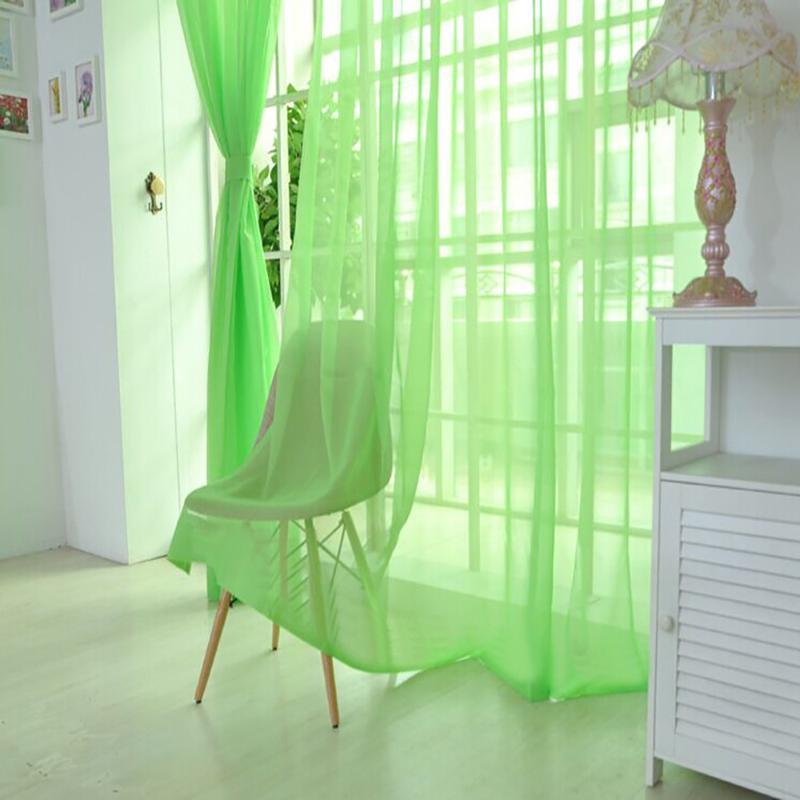 Venta caliente cortina escarpada color puro tul Puerta cortina de la ventana Panel de drapeado dormitorio bufanda cenefas Sala de estar moderna verde
