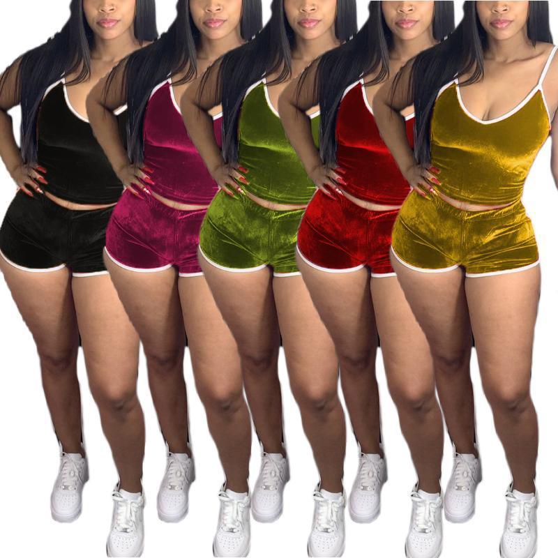 Echoine 2020 Femmes Velvet Sport Deux Piece Set Survêtement réservoir Crop Top cycliste Shorts Jogger Pantalon Costume vêtements assortis Outfit