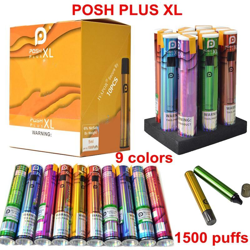 Lo nuevo dispositivo kits de iniciación Pods Vaciar el contenido de los cigarrillos Plumas E POSH PLUS XL Desechables Vape pluma 5 ml de aceite carros 650mAh batería 1500puffs