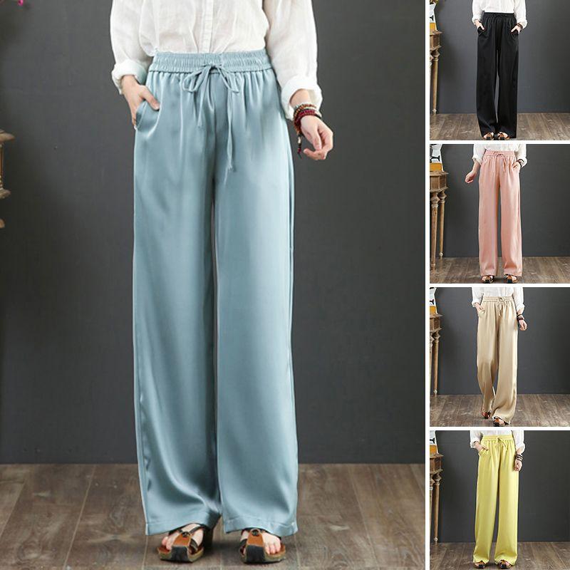 Женские брюки CAPRIS PLUS Размер Широкие брюки для ног Занзеа 2021 Drawstring Satin Мода Повседневная длинная панталон Palazzo Женский твердый репортаж