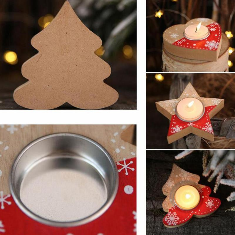 Décorations de Noël en bois Amour Candlestick Pentagram Bougie Décor Boîte Atmosphere Dress Up Party Supplies festival