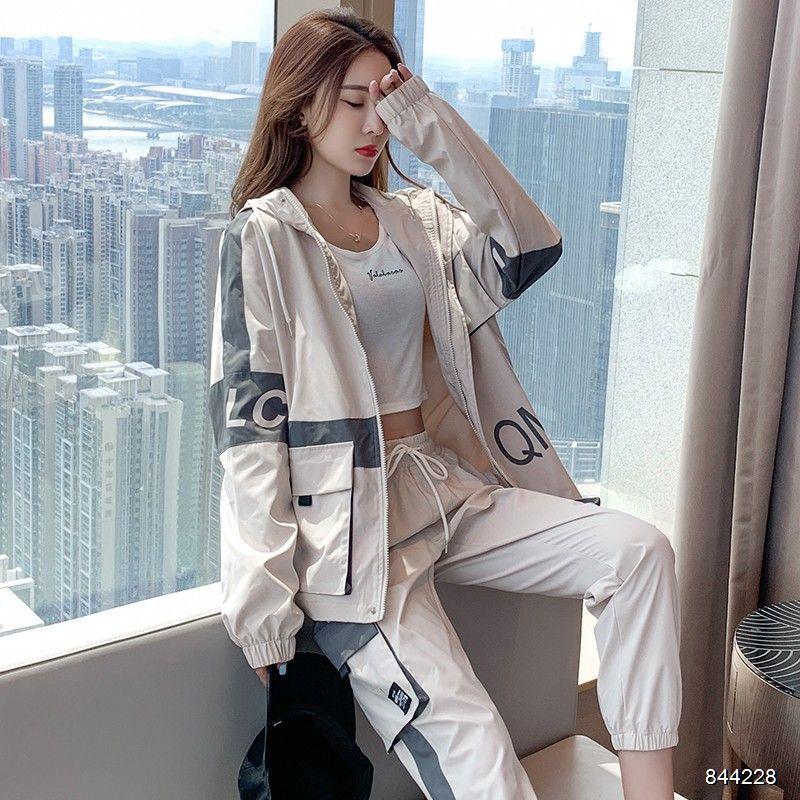 20FW Yeni Kadın eşofman Moda Sonbahar Koşu İki parça Suit Trend Harf Baskı Kadın eşofman Boyut S-2XL