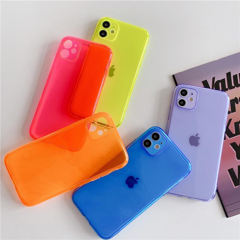 Флуоресцентные цвета конфеты телефон чехол для iPhone 11 Pro Max 7 8 Plus XR X XS Max Ударопрочный силиконовый Plain Clear Мягкая обложка