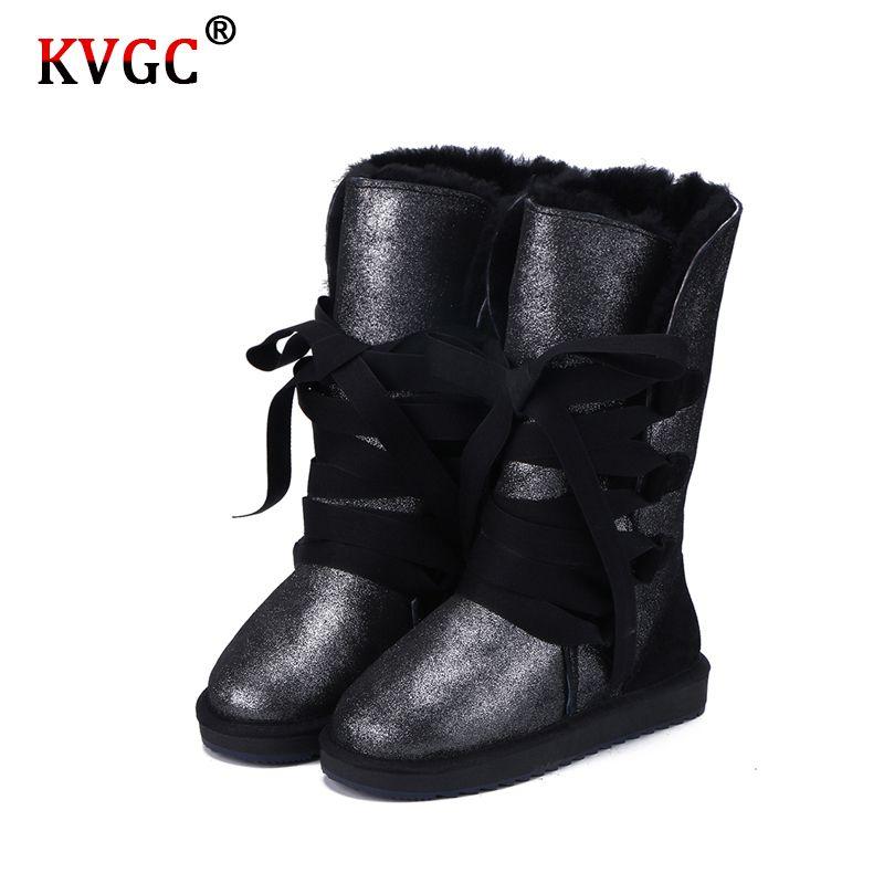 KVGC 2020New classique La mode en cuir de vache en cuir Laine fourrure Bordée Femmes Casual Bottes d'hiver de haute qualité pour les dames en dentelle Bottes de la neige 200916