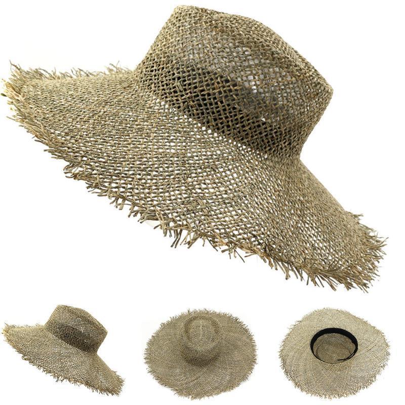 2020 Summer señora de la manera plegable informal tope general de Sun Sombrero de paja para las mujeres y hombres de la playa Sun de la paja SummerHat cappello Donna