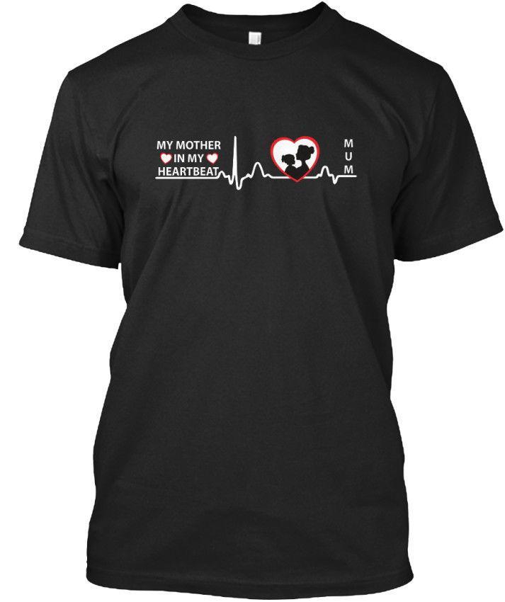 nuovi uomini di modo / uomini mens freddi delle parti superiori o collo t-shirt unisex mia madre in standard di T del battito cardiaco t-shirtgraphic