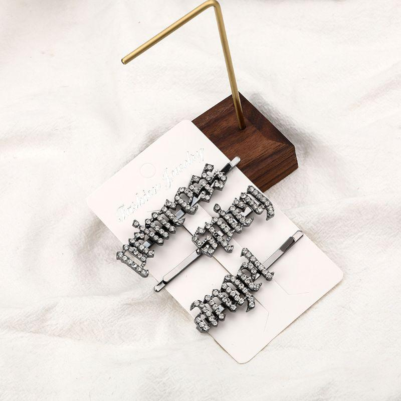 Fashion Anglais alphabet brillant strass coiffure Bangs de cheveux Barrette M0XF