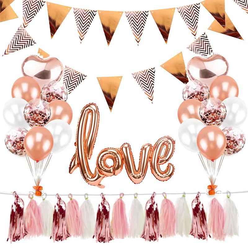 5m Pennant Banner Kinder Alles Gute zum Geburtstag Dekorationen Babyshower-Party-Baby Sein eines Jungen Mädchens Geschlecht deckt Supplies Hochzeit Rose Gold