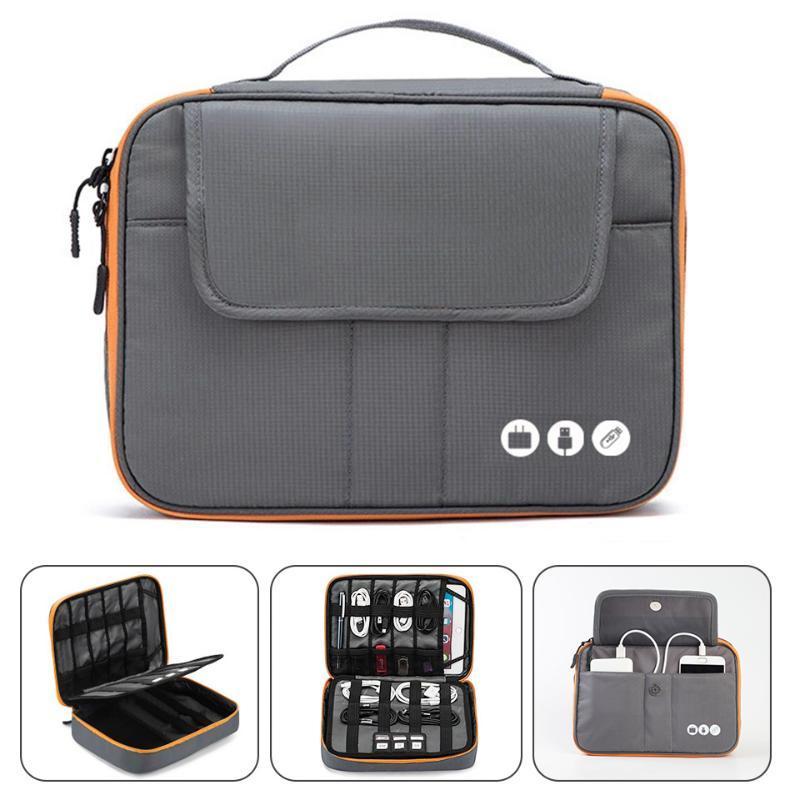 Acoki High Grade нейлон 2 слоя Путешествия Электронные аксессуары Органайзер Сумка, Путешествия Гаджет Carry Bag, идеальный размер, пригодный для I Pad