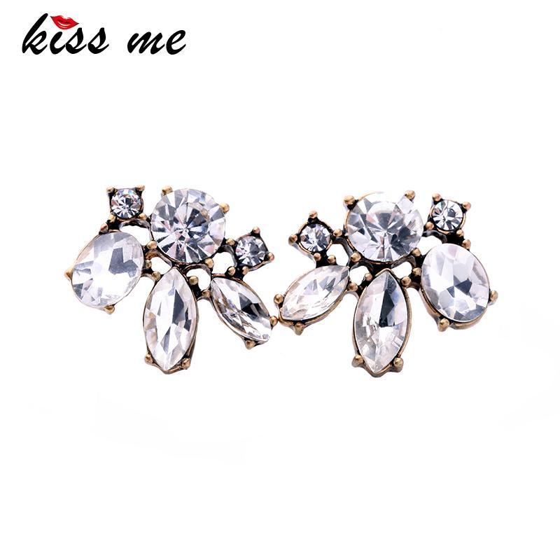 KISS ME Günstige Preis Vintage Style Kleine Harz-Stein-Bolzen-Ohrringe Modeschmuck Frauen Retro Brincos