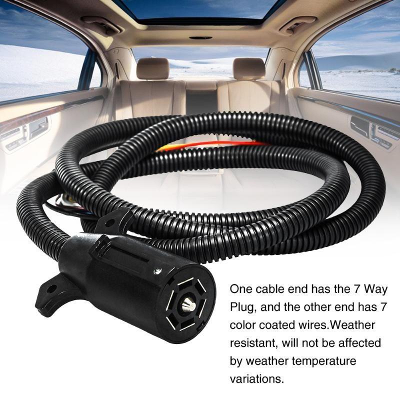 Durável Luz plugue elétrico com 7 Way Harness Profissional Trailer Cabo Caravan RV conector flexível Towing Fio Moldado