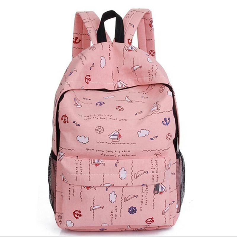 Genç kızlar Laptop Sırt Çantası Çanta Seyahat Bagpack Pembe Rucksack için 2019 Baskı Sırt Kadınlar Tuval Okul Sırt Çantası Çanta