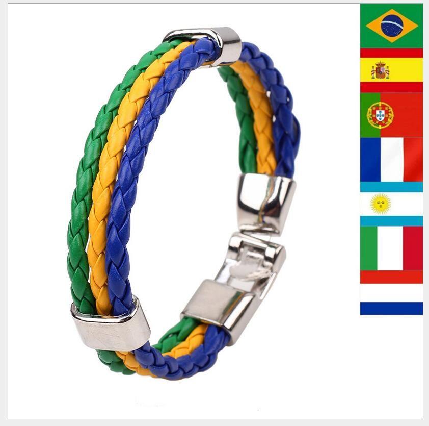 Copa Mundial de la moda de cuero pulsera de la bandera nacional para las mujeres de los hombres 2018 regalos decoración del partido Copa Mundial de Fútbol Deporte pulsera de punto