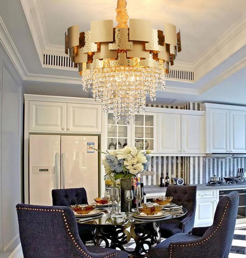 Di lusso moderno lampadario illuminazione led soggiorno lampade di cristallo appesi oro Lampadari led Lampade a sospensione decorazione della casa