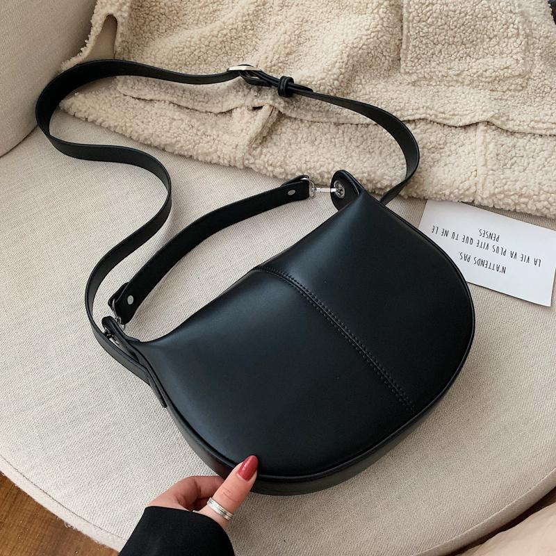Solid Color PU Leather Saddle Bags For Women 2020 Small Lady Shoulder Simple Bag Female Travel Handbags and Purses