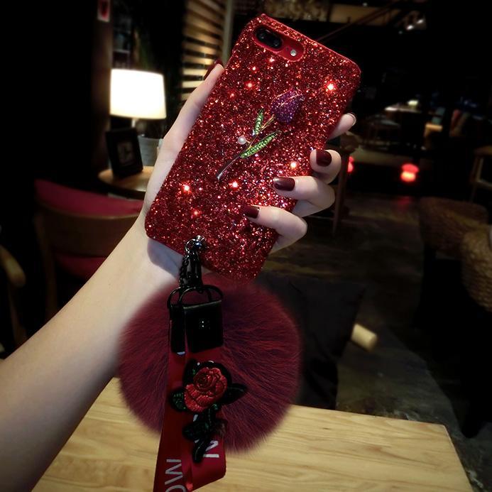 Mode Diamant Rose Real Fox-Pelz-Kugel-Anhänger Bling Funkeln-Fall mit Blumen-Gurt für das iPhone 11 Pro Max XS XR 8 7 Plus-Huawei P30 mate30