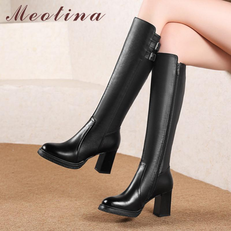 Meotina Winter Knee High Boots Women Natural Genuine Leather Zip Chunky High Heel Long Boots Buckle Round Toe Shoes Lady Size 39