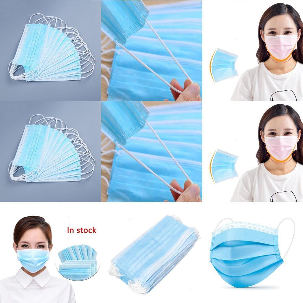 10/20/30 jetables Pcs Masques De Bouche Faciaux Elastiques Anti-Poussière (blau) 50pcs / box L8G29 LA2Z2 Blau LY