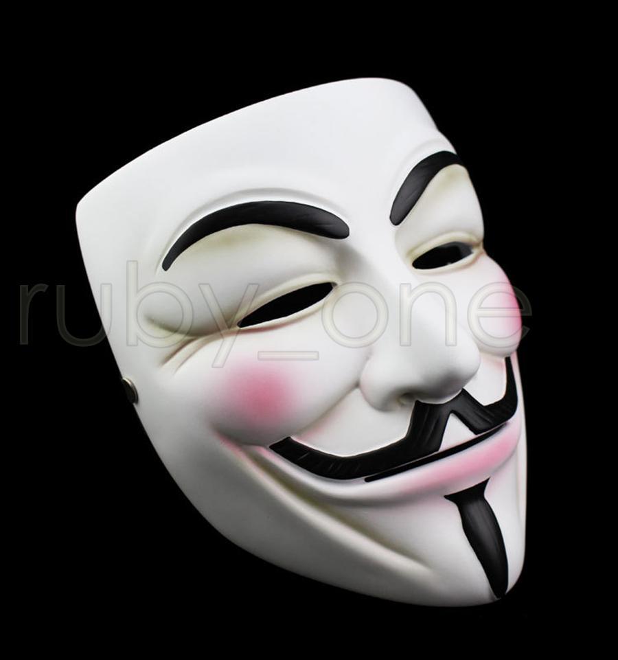 V الأبيض قناع حفلة تنكرية قناع أقنعة هالوين كحل كامل الوجه حزب الدعائم ثأر مجهول فيلم غي أقنعة RRA3557