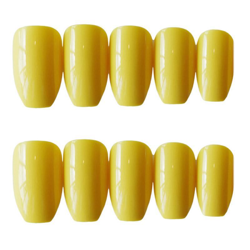 24pcs / set los clavos falsos con las uñas pegamento Europea Ins brillante larga amarilla falsos con pegamento sólido de color dedo puntas de las uñas de la cubierta completa