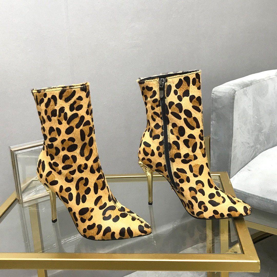 Las mujeres delgadas del talón de 10 cm de cabello de patrón diseñador de la bota del tobillo de la moda zapatos de mujer de invierno de la cremallera caballo y piel de cordero de primera calidad