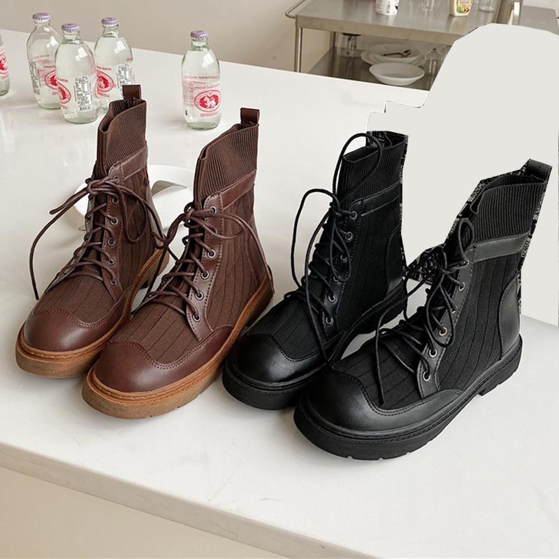 2020 겨울 동향 여성 라운드 발가락 발목 부츠 타이 업 블랙 가죽 부츠 광장 하이힐 짧은 여성 신발