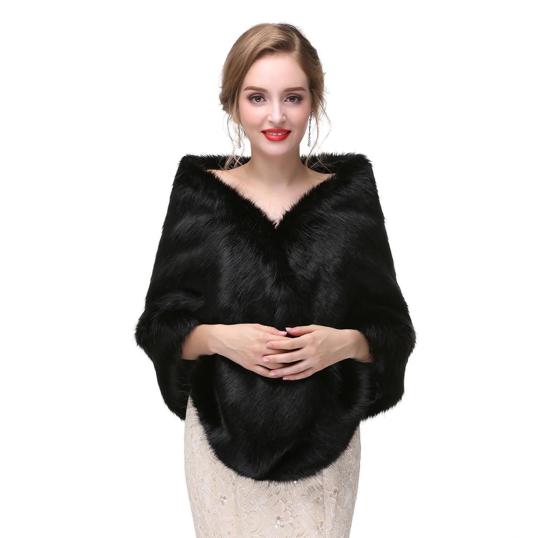 High Quality Black Bridal Faux Fur Wraps Wedding Dress Fur Boleros Winter Bridal Jacket 2017 New Arrival Real