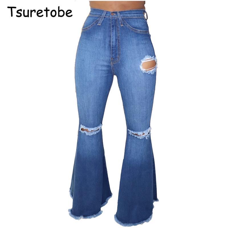Tsuretobe fashion ripped hole Denim Flare wide leg women Vintage Bell-Bottoms Jeans Casual boot-cut pants trousers woman