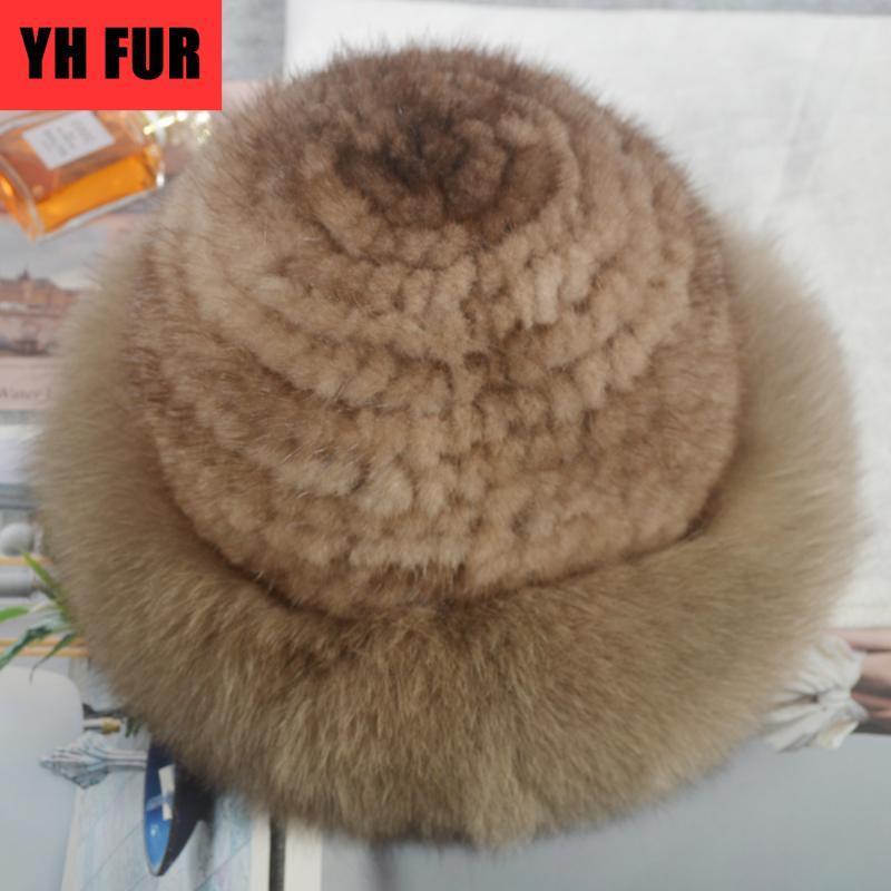 Russie Hiver doux et chaud de luxe en tricot réel véritable chapkas Les vraies femmes Caps Parti Beanies Chapeau Skullies