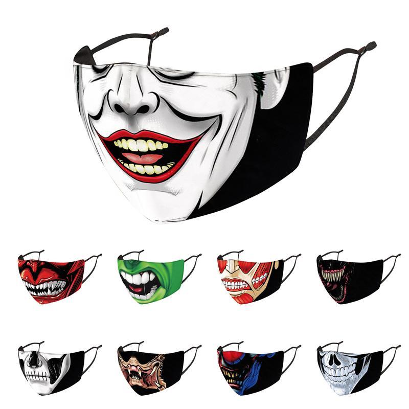 Noel Cadılar Bayramı Kafatası yüz maskesi karikatür Palyaço karşıtı toz koruyucu Ayarlanabilir Nefes Yeniden kullanılabilir yıkanabilir maskeleri Maske maske